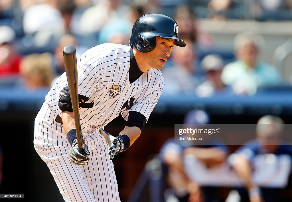 <a gi-track='captionPersonalityLinkClicked' href=/galleries/search?phrase=Ichiro+Suzuki&family=editorial&specificpeople=201556 ng-click='$event.stopPropagation()'>Ichiro Suzuki</a> #31 of the New York Yankees lines out in the sixth inning against the Tampa Bay Rays at Yankee Stadium on July 2, 2014 in the Bronx borough of New York City.