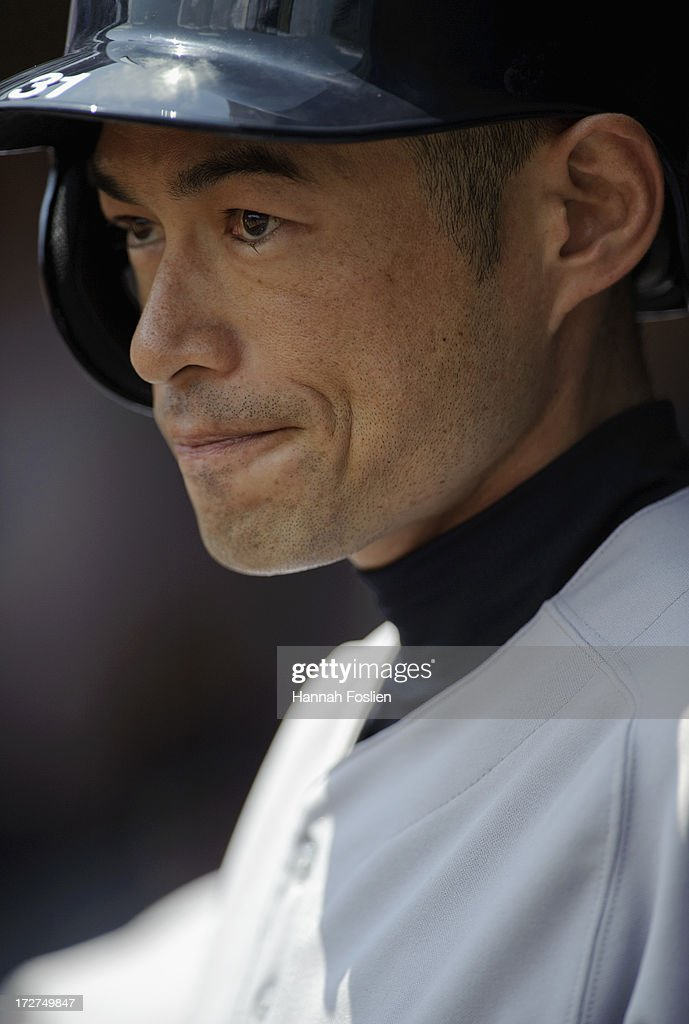 Ichiro Suzuki #31 of the New York Yankees looks on before the game against the Minnesota Twins on July 4, 2013 at Target Field in Minneapolis, Minnesota.