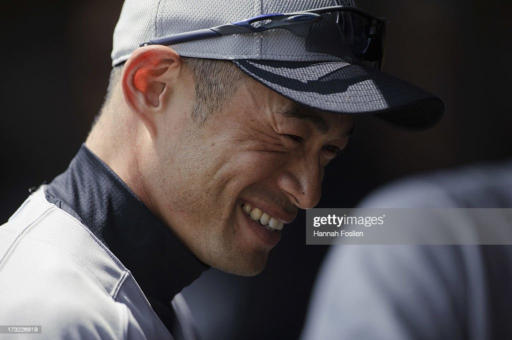 <a gi-track='captionPersonalityLinkClicked' href=/galleries/search?phrase=Ichiro+Suzuki&family=editorial&specificpeople=201556 ng-click='$event.stopPropagation()'>Ichiro Suzuki</a> #31 of the New York Yankees looks on before the game against the Minnesota Twins on July 4, 2013 at Target Field in Minneapolis, Minnesota.