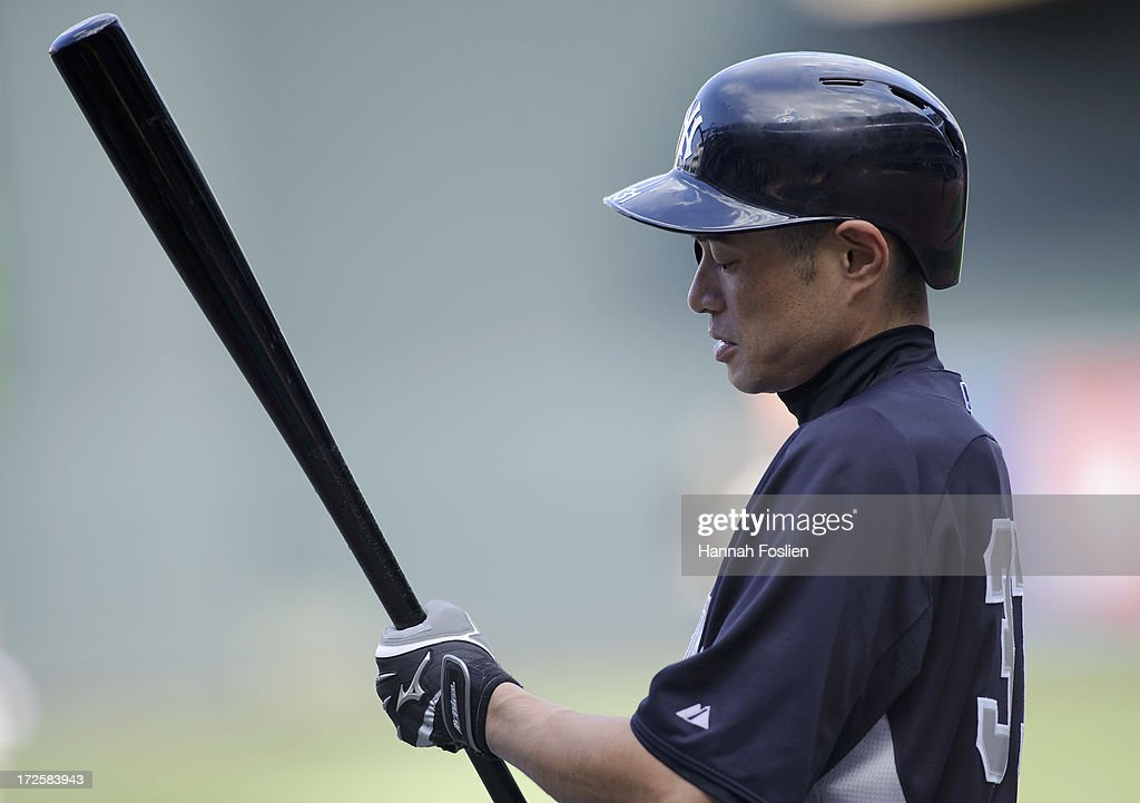 Ichiro Suzuki #31 of the New York Yankees looks on during batting practice before the game against the Minnesota Twins on July 3, 2013 at Target Field in Minneapolis, Minnesota.