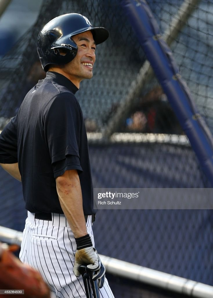 Ichiro Suzuki #31 of the New York Yankees looks on during batting practice before the start of their game against the Detroit Tigers at Yankee Stadium on August 6, 2014 in the Bronx borough of New York City.