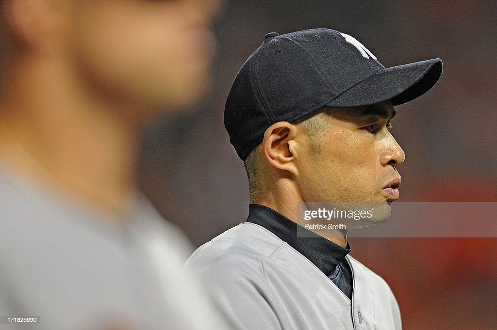 <a gi-track='captionPersonalityLinkClicked' href=/galleries/search?phrase=Ichiro+Suzuki&family=editorial&specificpeople=201556 ng-click='$event.stopPropagation()'>Ichiro Suzuki</a> #31 of the New York Yankees looks on during the game against the Baltimore Orioles at Oriole Park at Camden Yards on June 28, 2013 in Baltimore, Maryland. The Baltimore Orioles won, 4-3.