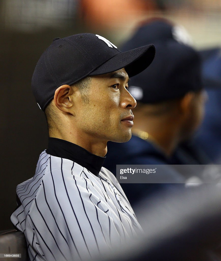 Ichiro Suzuki #31 of the New York Yankees looks on from the dugout in the 12 inning against the Arizona Diamondbacks on April 18, 2013 at Yankee Stadium in the Bronx borough of New York City.The Arizona Diamondbacks defeated the New York Yankees 6-2 in 12 innings.
