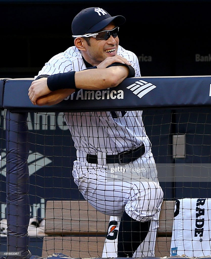 Ichiro Suzuki #31 of the New York Yankees looks on from the dugout in the seventh inning against the Pittsburgh Pirates on May 17, 2014 at Yankee Stadium in the Bronx borough of New York City.