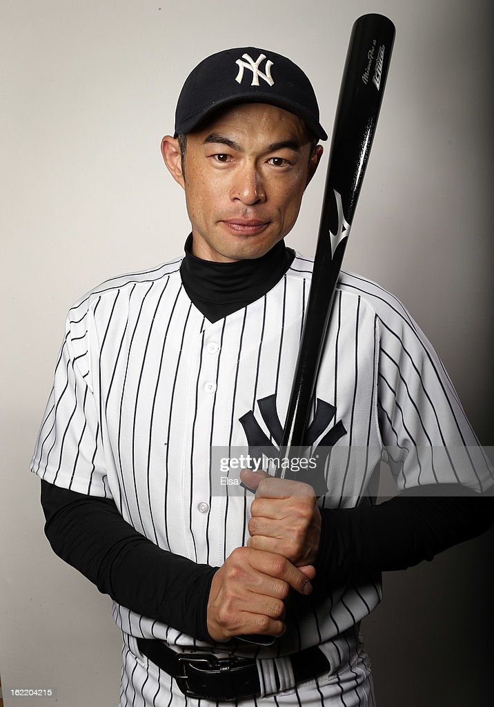 <a gi-track='captionPersonalityLinkClicked' href=/galleries/search?phrase=Ichiro+Suzuki&family=editorial&specificpeople=201556 ng-click='$event.stopPropagation()'>Ichiro Suzuki</a> #31 of the New York Yankees poses for a portrait on February 20, 2013 at George Steinbrenner Stadium in Tampa, Florida.
