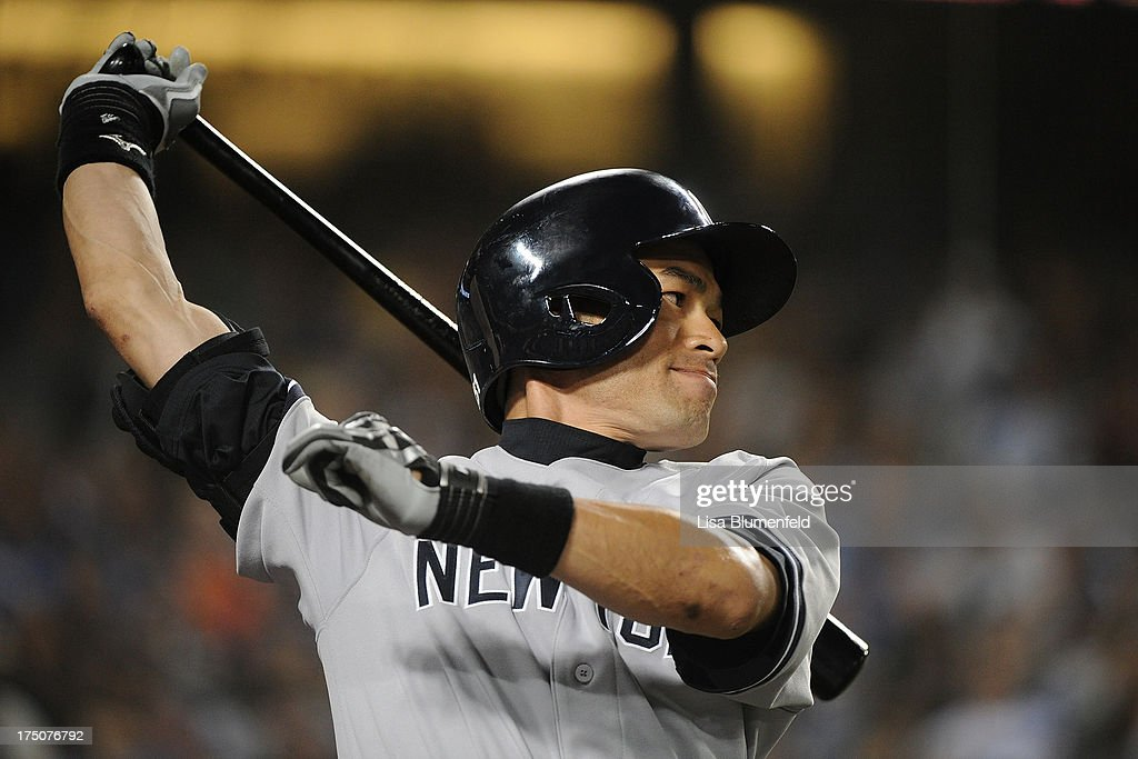 <a gi-track='captionPersonalityLinkClicked' href=/galleries/search?phrase=Ichiro+Suzuki&family=editorial&specificpeople=201556 ng-click='$event.stopPropagation()'>Ichiro Suzuki</a> #31 of the New York Yankees prepares to bat during the game against the Los Angeles Dodgers at Dodger Stadium on July 30, 2013 in Los Angeles, California.