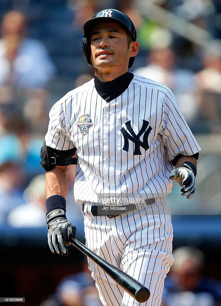 Ichiro Suzuki #31 of the New York Yankees reacts after lining out in the sixth inning against the Tampa Bay Rays at Yankee Stadium on July 2, 2014 in the Bronx borough of New York City.
