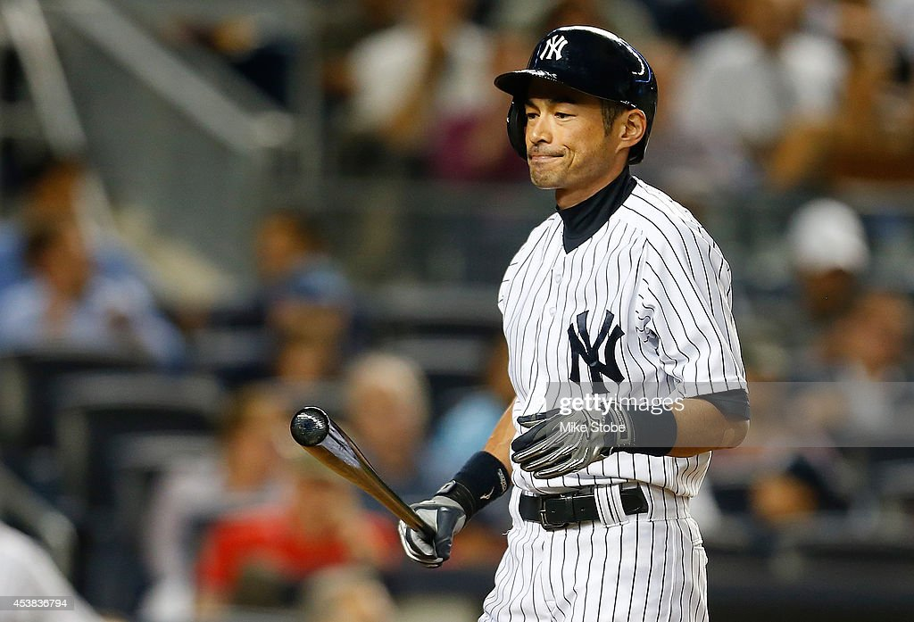 Ichiro Suzuki #31 of the New York Yankees reacts after striking out in the fourth inning against the Houston Astros at Yankee Stadium on August 19, 2014 in the Bronx borough of New York City.