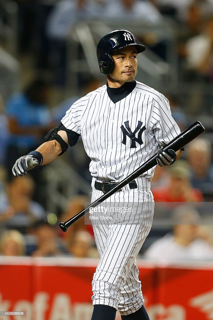 Ichiro Suzuki #31 of the New York Yankees reacts after striking out in the fourth inning against the Houston Astros at Yankee Stadium on August 19, 2014 in the Bronx borough of New York City. Astros defeated the Yankees 7-4.