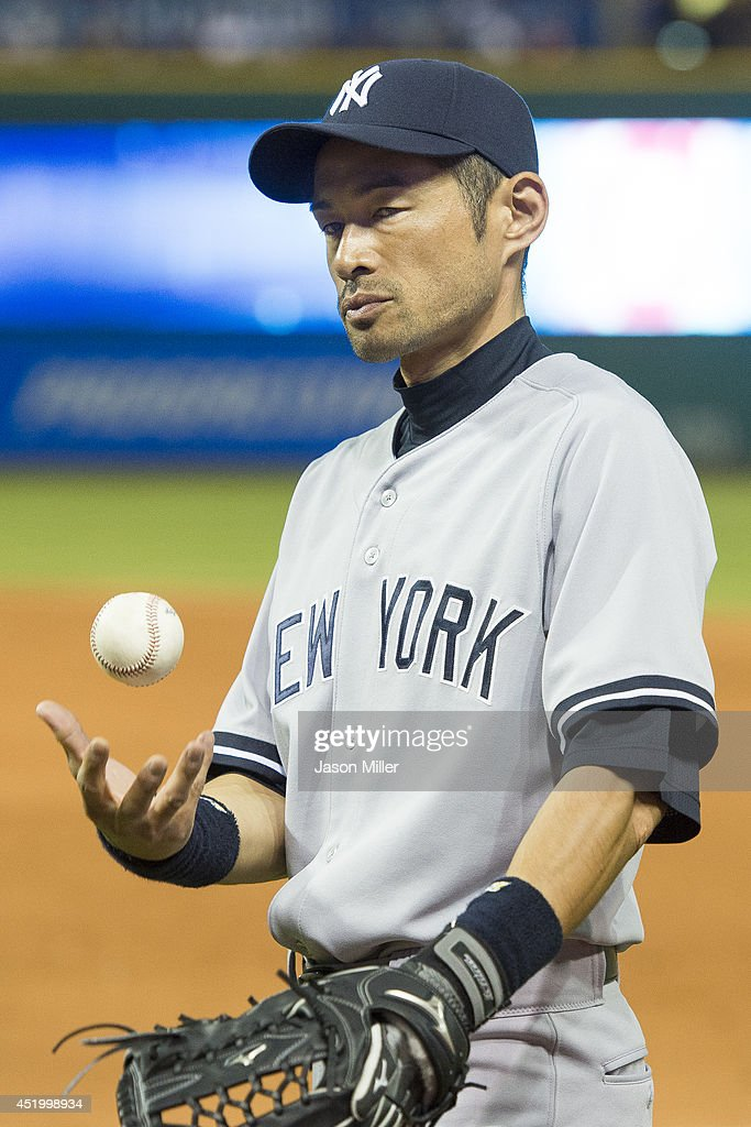 <a gi-track='captionPersonalityLinkClicked' href=/galleries/search?phrase=Ichiro+Suzuki&family=editorial&specificpeople=201556 ng-click='$event.stopPropagation()'>Ichiro Suzuki</a> #31 of the New York Yankees roses the ball as he returns to the dugout after the eighth inning against the Cleveland Indians at Progressive Field on July 10, 2014 in Cleveland, Ohio. The Indians defeated the Yankees 9-3.