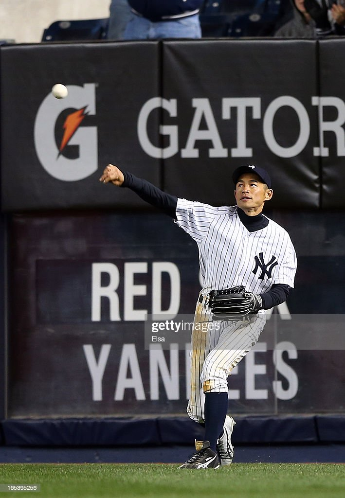 <a gi-track='captionPersonalityLinkClicked' href=/galleries/search?phrase=Ichiro+Suzuki&family=editorial&specificpeople=201556 ng-click='$event.stopPropagation()'>Ichiro Suzuki</a> #31 of the New York Yankees sends the ball in during the fifth inning against the Boston Red Sox on April 3, 2013 at Yankee Stadium in the Bronx borough of New York City.
