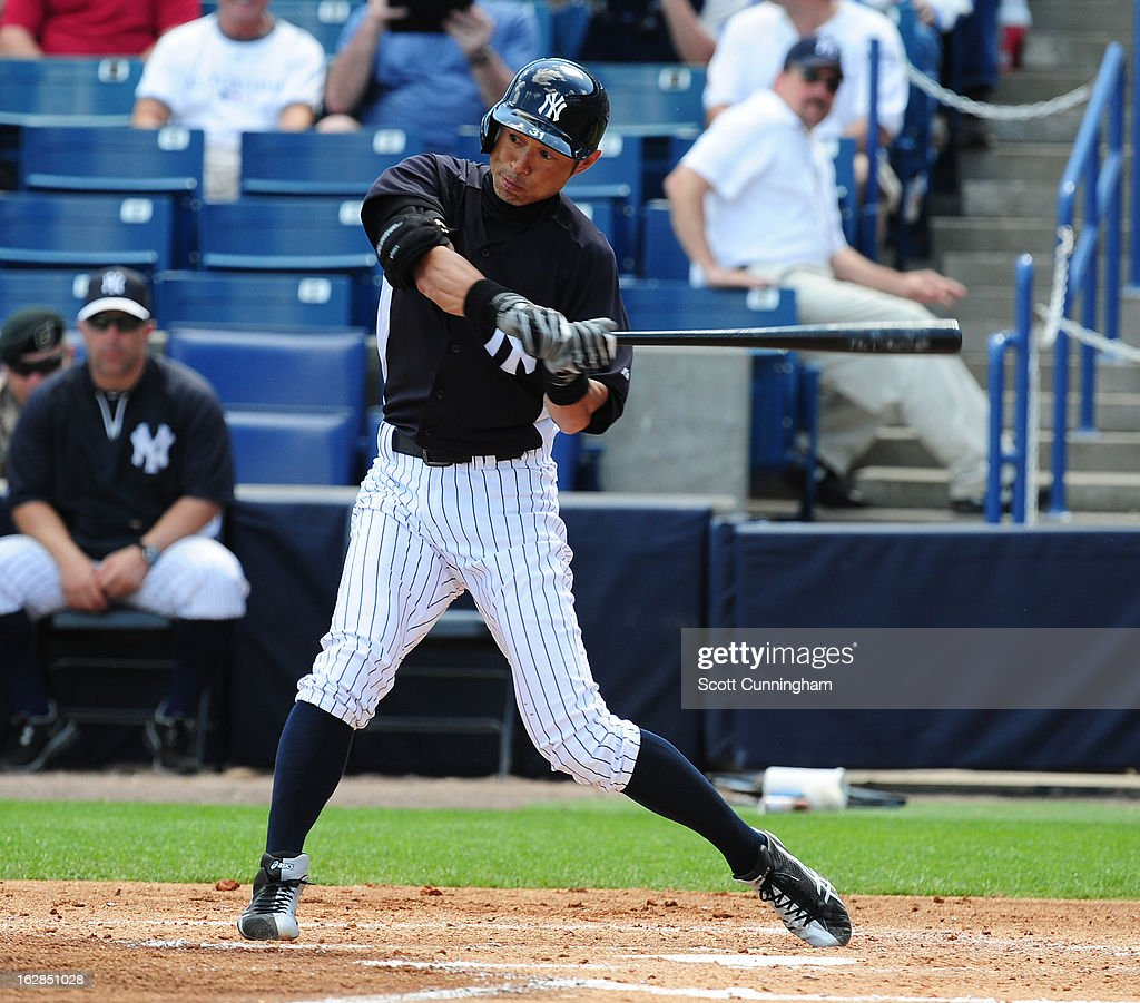 <a gi-track='captionPersonalityLinkClicked' href=/galleries/search?phrase=Ichiro+Suzuki&family=editorial&specificpeople=201556 ng-click='$event.stopPropagation()'>Ichiro Suzuki</a> #31 of the New York Yankees singles during the spring training game against the Toronto Blue Jays at George M. Steinbrenner Field on February 28, 2013 in Tampa, Florida.