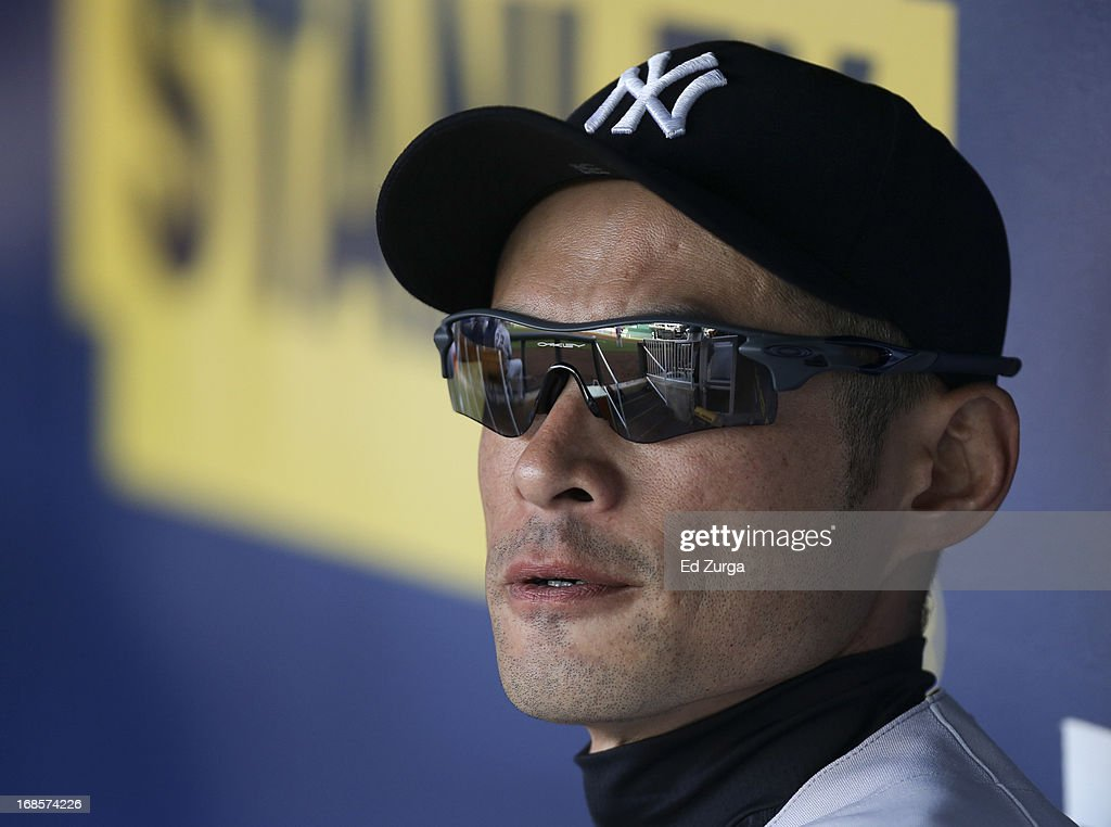 <a gi-track='captionPersonalityLinkClicked' href=/galleries/search?phrase=Ichiro+Suzuki&family=editorial&specificpeople=201556 ng-click='$event.stopPropagation()'>Ichiro Suzuki</a> #31 of the New York Yankees sits in the dugout before taking to the field during in the first inning against the Kansas City Royals at Kauffman Stadium on May 11, 2013 in Kansas City, Missouri.