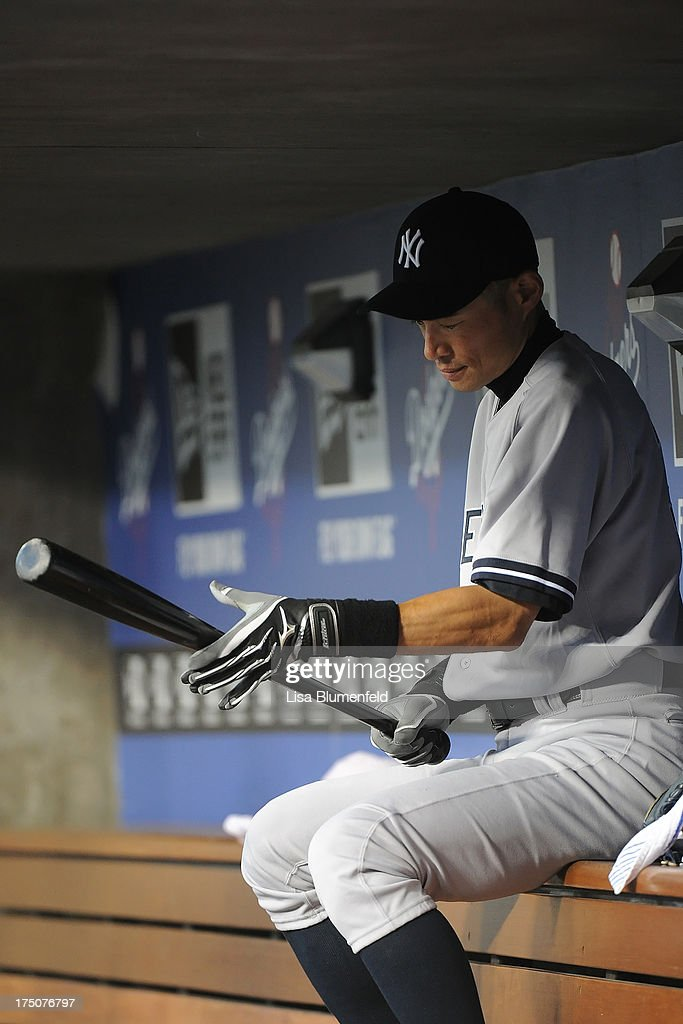 <a gi-track='captionPersonalityLinkClicked' href=/galleries/search?phrase=Ichiro+Suzuki&family=editorial&specificpeople=201556 ng-click='$event.stopPropagation()'>Ichiro Suzuki</a> #31 of the New York Yankees sits in the dugout during the game against the Los Angeles Dodgers at Dodger Stadium on July 30, 2013 in Los Angeles, California.