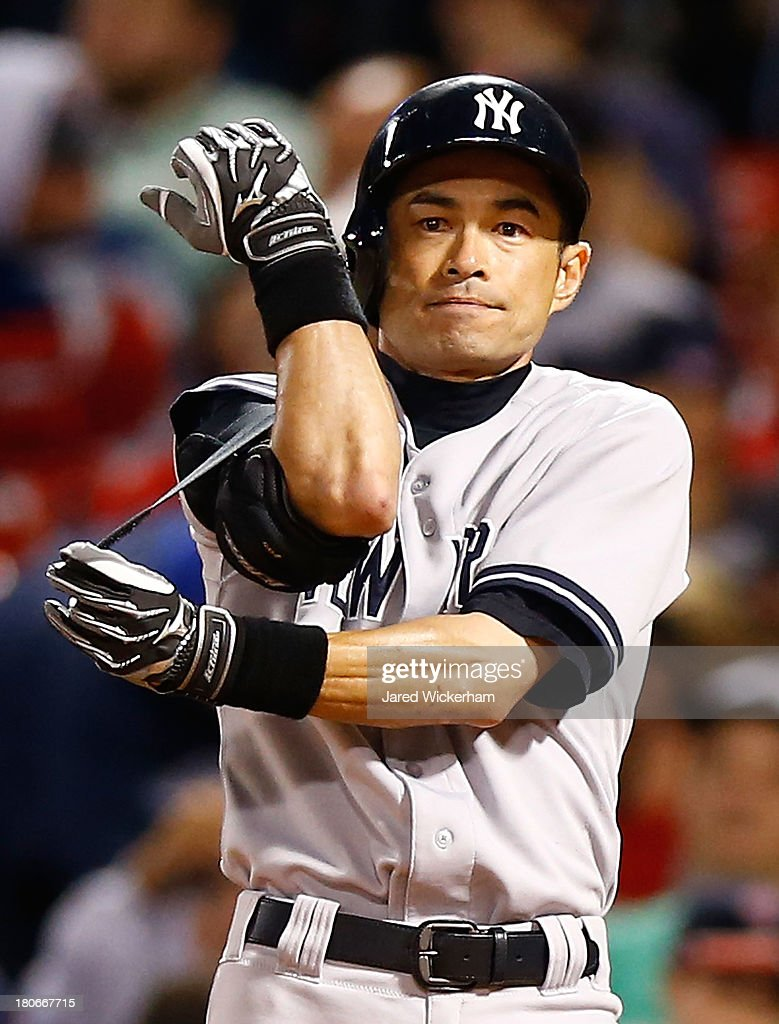 Ichiro Suzuki #31 of the New York Yankees stands at home plate during his at-bat in the 9th inning against the Boston Red Sox during the game on September 15, 2013 at Fenway Park in Boston, Massachusetts.