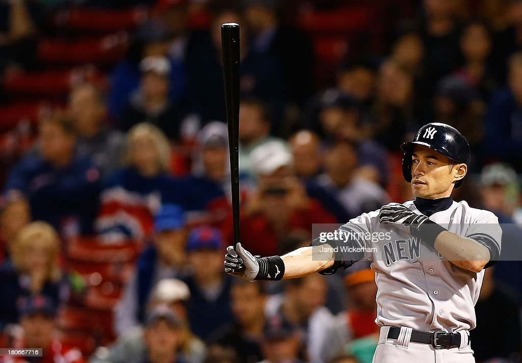 <a gi-track='captionPersonalityLinkClicked' href=/galleries/search?phrase=Ichiro+Suzuki&family=editorial&specificpeople=201556 ng-click='$event.stopPropagation()'>Ichiro Suzuki</a> #31 of the New York Yankees stands at home plate during his at-bat in the 9th inning against the Boston Red Sox during the game on September 15, 2013 at Fenway Park in Boston, Massachusetts.