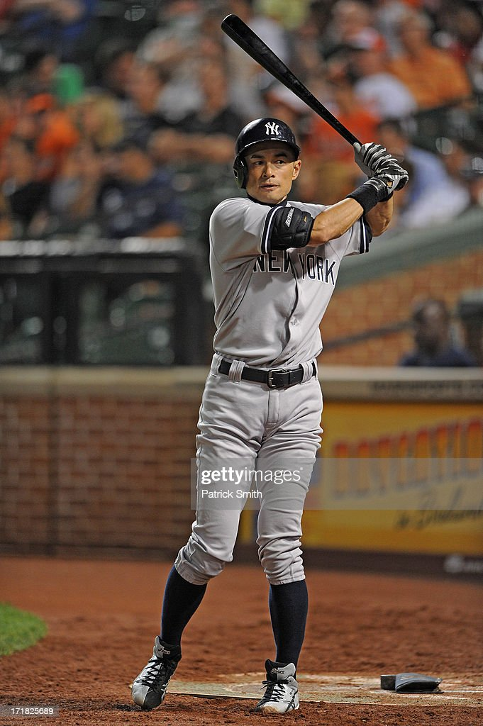 <a gi-track='captionPersonalityLinkClicked' href=/galleries/search?phrase=Ichiro+Suzuki&family=editorial&specificpeople=201556 ng-click='$event.stopPropagation()'>Ichiro Suzuki</a> #31 of the New York Yankees stands on the on-deck circle during the game against the Baltimore Orioles at Oriole Park at Camden Yards on June 28, 2013 in Baltimore, Maryland. The Baltimore Orioles won, 4-3.