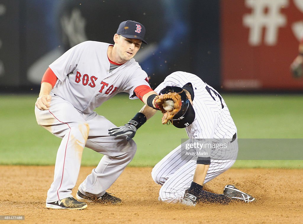 <a gi-track='captionPersonalityLinkClicked' href=/galleries/search?phrase=Ichiro+Suzuki&family=editorial&specificpeople=201556 ng-click='$event.stopPropagation()'>Ichiro Suzuki</a> #31 of the New York Yankees steals second base in front of the tag of <a gi-track='captionPersonalityLinkClicked' href=/galleries/search?phrase=Stephen+Drew&family=editorial&specificpeople=757520 ng-click='$event.stopPropagation()'>Stephen Drew</a> #7 of the Boston Red Sox during the third inning at Yankee Stadium on June 29, 2014 in the Bronx borough of New York City.