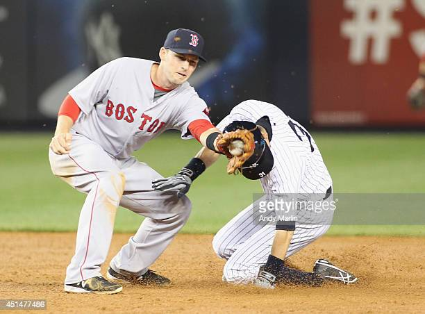 Ichiro Suzuki of the New York Yankees steals second base in front of the tag of Stephen Drew of the Boston Red Sox during the third inning at Yankee...