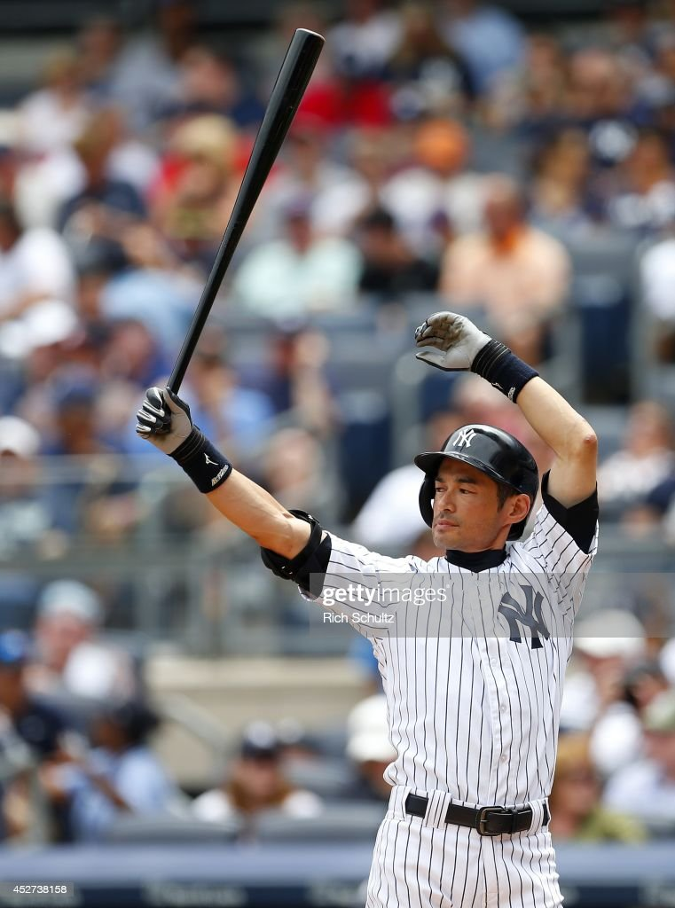 <a gi-track='captionPersonalityLinkClicked' href=/galleries/search?phrase=Ichiro+Suzuki&family=editorial&specificpeople=201556 ng-click='$event.stopPropagation()'>Ichiro Suzuki</a> #31 of the New York Yankees steps into the batters box in the second inning against the Toronto Blue Jays during a MLB baseball game at Yankee Stadium on July 26, 2014 in the Bronx borough of New York City. The Blue Jays defeated the Yankees 6-4.