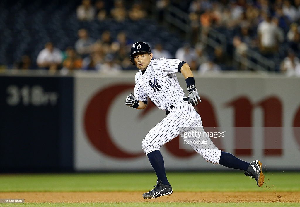 <a gi-track='captionPersonalityLinkClicked' href=/galleries/search?phrase=Ichiro+Suzuki&family=editorial&specificpeople=201556 ng-click='$event.stopPropagation()'>Ichiro Suzuki</a> #31 of the New York Yankees takes a lead off second base as he pinch runs the ninth inning in a MLB baseball game against the Tampa Bay Rays at Yankee Stadium on July 1, 2014 in the Bronx borough of New York City. The Rays defeated the Yankees 2-1.
