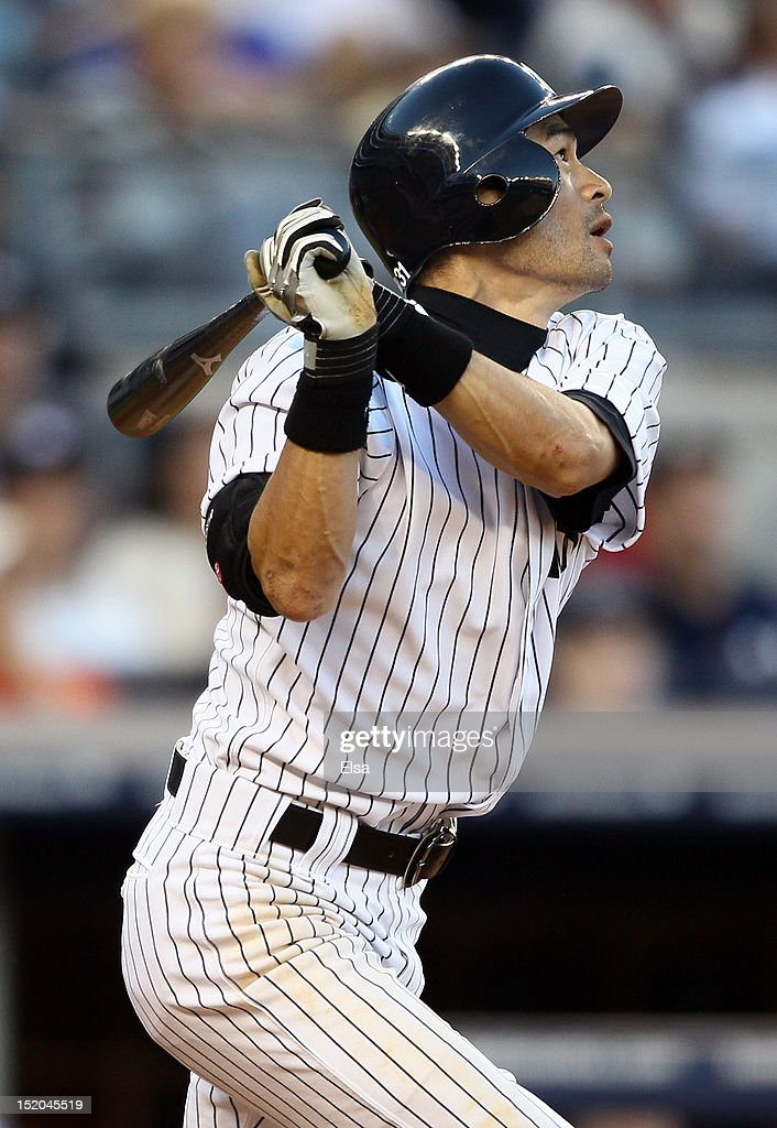 <a gi-track='captionPersonalityLinkClicked' href=/galleries/search?phrase=Ichiro+Suzuki&family=editorial&specificpeople=201556 ng-click='$event.stopPropagation()'>Ichiro Suzuki</a> #31 of the New York Yankees takes a swing against the Tampa Bay Rays on September 15, 2012 at Yankee Stadium in the Bronx borough of New York City.