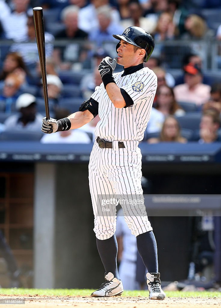 Ichiro Suzuki #31 of the New York Yankees takes his turn at bat in the third inning against the San Francisco Giants during interleague play on September 22, 2013 at Yankee Stadium in the Bronx borough of New York City.