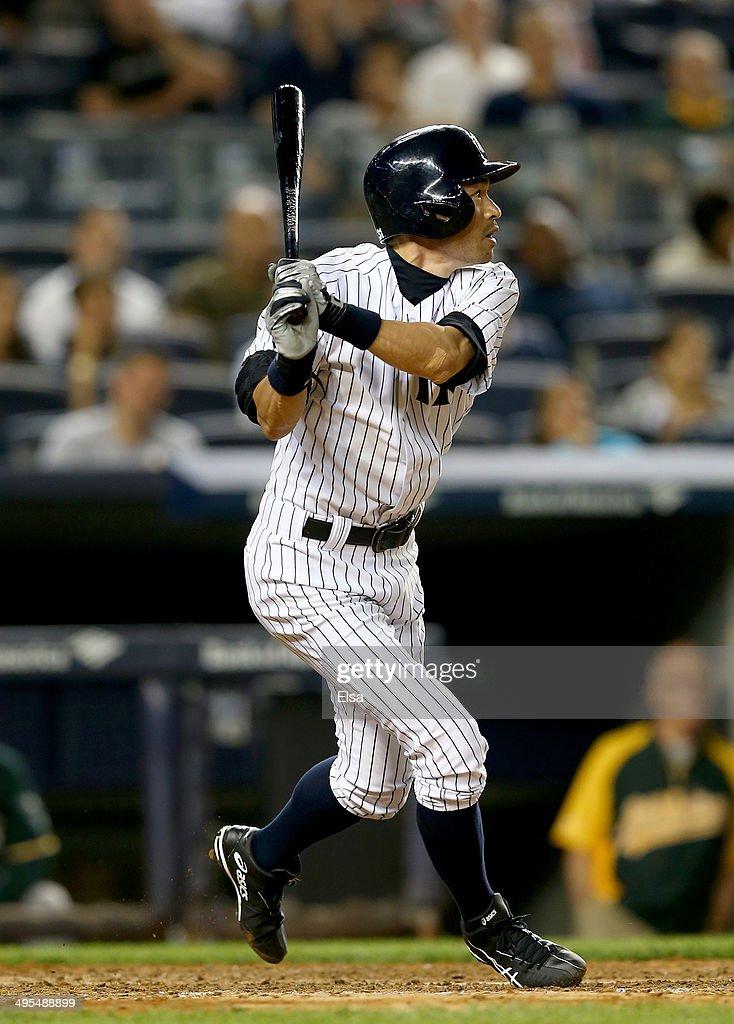 Ichiro Suzuki #31 of the New York Yankees takes his turn at bat in the eighth inning against the Oakland Athletics on June 3, 2014 at Yankee Stadium in the Bronx borough of New York City.