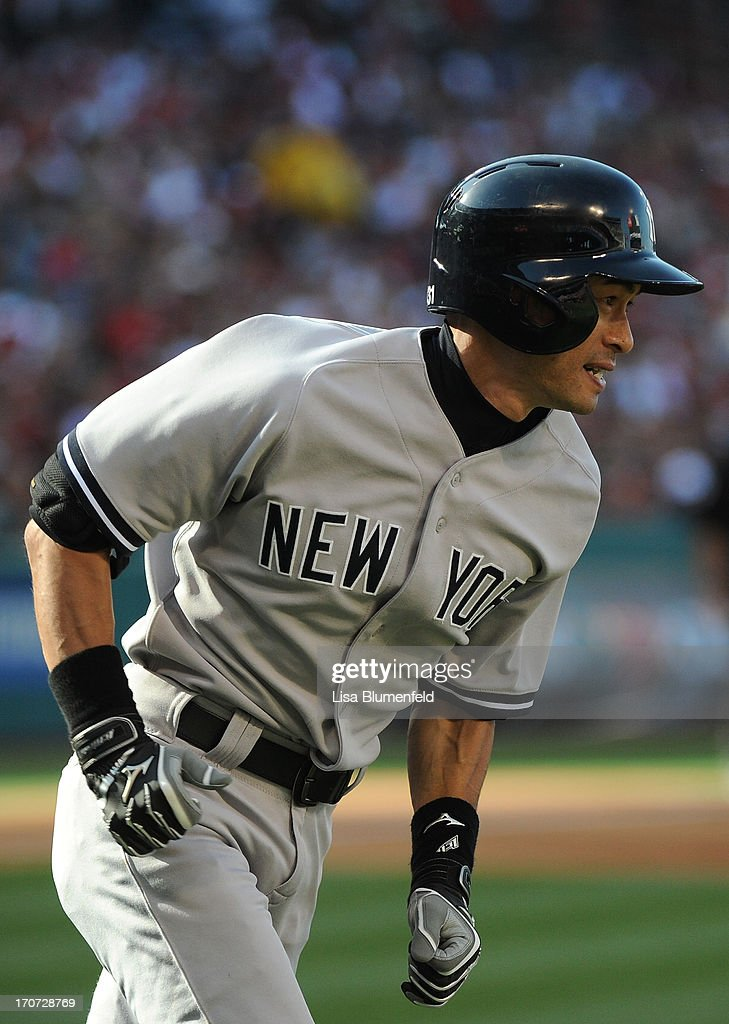 <a gi-track='captionPersonalityLinkClicked' href=/galleries/search?phrase=Ichiro+Suzuki&family=editorial&specificpeople=201556 ng-click='$event.stopPropagation()'>Ichiro Suzuki</a> #31 of the New York Yankees takes off running after hitting a double in the fourth inning against the Los Angeles Angels of Anaheim at Angel Stadium of Anaheim on June 15, 2013 in Anaheim, California.