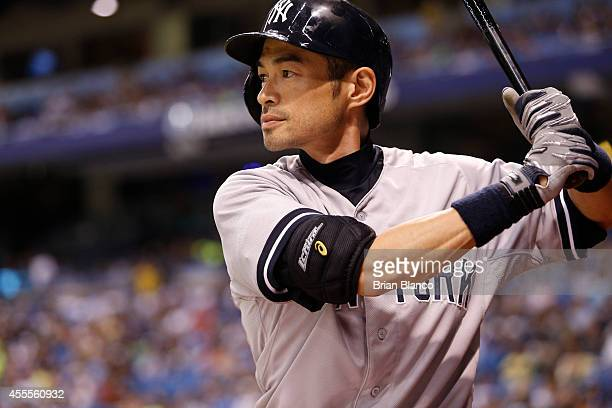 Ichiro Suzuki of the New York Yankees waits on deck to bat during the sixth inning of a game against the Tampa Bay Rays on September 16 2014 at...