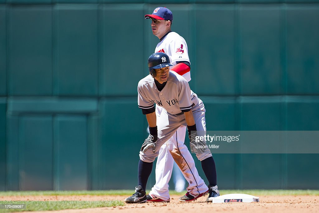 <a gi-track='captionPersonalityLinkClicked' href=/galleries/search?phrase=Ichiro+Suzuki&family=editorial&specificpeople=201556 ng-click='$event.stopPropagation()'>Ichiro Suzuki</a> #31 of the New York Yankees waits on first base during the sixth inning during the first game of a doubleheader against the Cleveland Indians at Progressive Field on May 13, 2013 in Cleveland, Ohio.