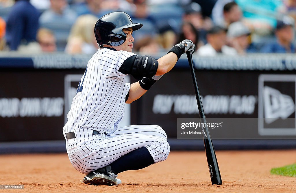 <a gi-track='captionPersonalityLinkClicked' href=/galleries/search?phrase=Ichiro+Suzuki&family=editorial&specificpeople=201556 ng-click='$event.stopPropagation()'>Ichiro Suzuki</a> #31 of the New York Yankees waits to bat against the Toronto Blue Jays at Yankee Stadium on April 28, 2013 in the Bronx borough of New York City. The Yankees defeated the Blue Jays 3-2.
