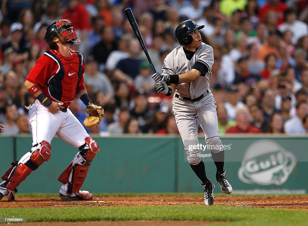 <a gi-track='captionPersonalityLinkClicked' href=/galleries/search?phrase=Ichiro+Suzuki&family=editorial&specificpeople=201556 ng-click='$event.stopPropagation()'>Ichiro Suzuki</a> #31 of the New York Yankees watches his fly out to center against the Boston Red Sox in the 2nd inning at Fenway Park on August 16, 2013 in Boston, Massachusetts.