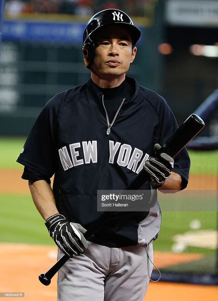 Ichiro Suzuki #31 of the New York Yankees works out on the field before the game against the Houston Astros at Minute Maid Park on September 27, 2013 in Houston, Texas.