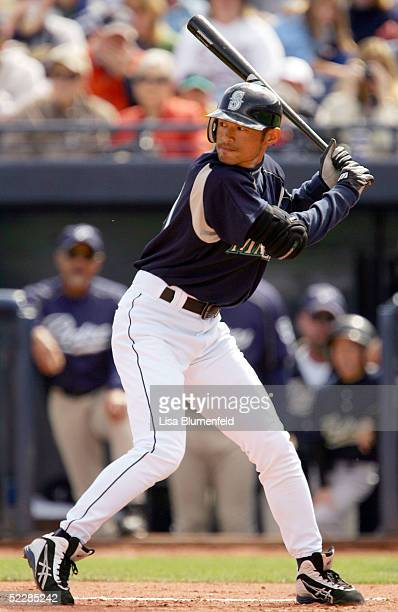 Ichiro Suzuki of the Seattle Mariners at bat during a spring training game against the San Diego Padres on March 6 2005 at Peoria Sports Complex in...
