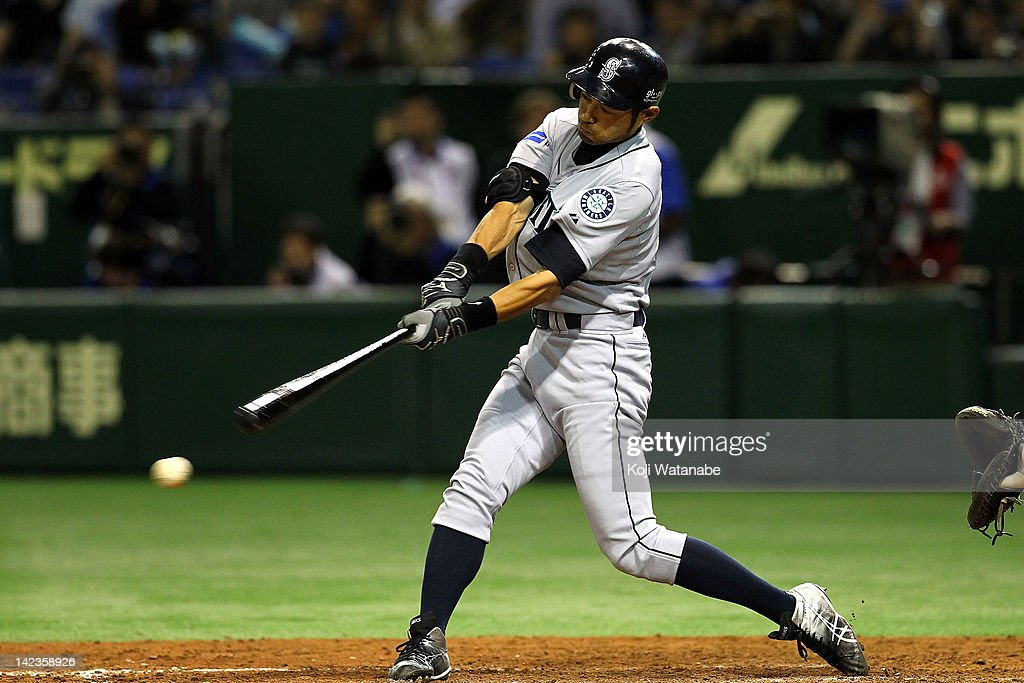 Ichiro Suzuki of the Seattle Mariners at bat during the MLB Opening game between Seattle Mariners and Yomiuri Giants at Tokyo Dome on March 29, 2012 in Tokyo, Japan.