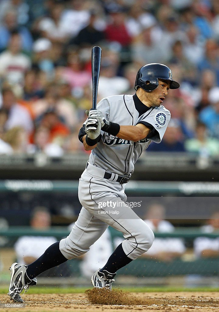 Ichiro Suzuki #51 of the Seattle Mariners bats in the sixth inning during the game against the Detroit Tigers on July 2, 2010 at Comerica Park in Detroit, Michigan. The Tigers defeated the Mariners 7-1.