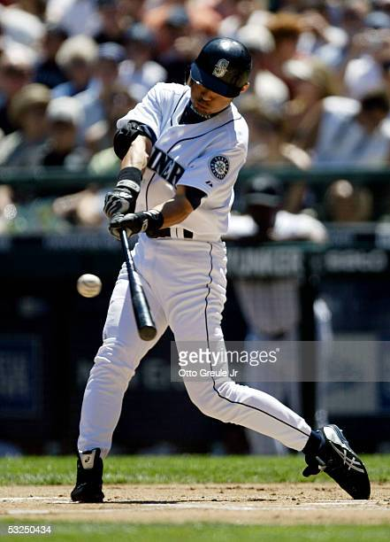 Ichiro Suzuki of the Seattle Mariners flies out in the first inning against the Baltimore Orioles on July 17 2005 at Safeco Field in Seattle...