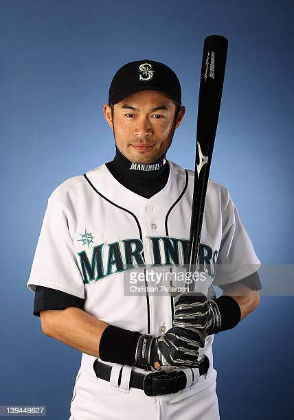 Ichiro Suzuki of the Seattle Mariners poses for a portrait during spring training photo day at Peoria Stadium on February 21 2012 in Peoria Arizona