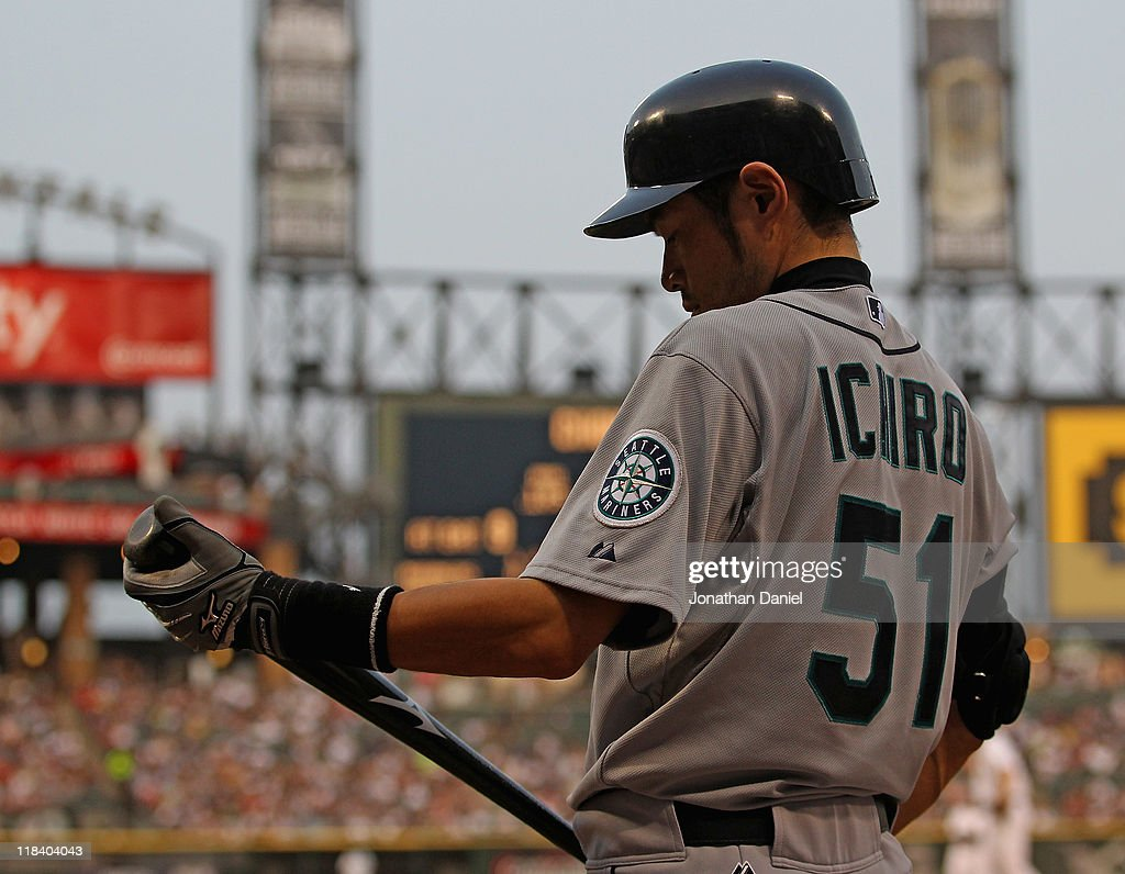 Ichiro Suzuki #51 of the Seattle Mariners prepares to bat in the on-deck circle against the Chicago White Sox at U.S. Cellular Field on June 8, 2011 in Chicago, Illinois. The Mariners defeated the White Sox 7-4 in 10 innings.