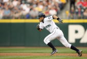 Ichiro Suzuki of the Seattle Mariners steals second base against the Los Angeles Angels of Anahiem on May 15 2007 at Safeco Field in Seattle...