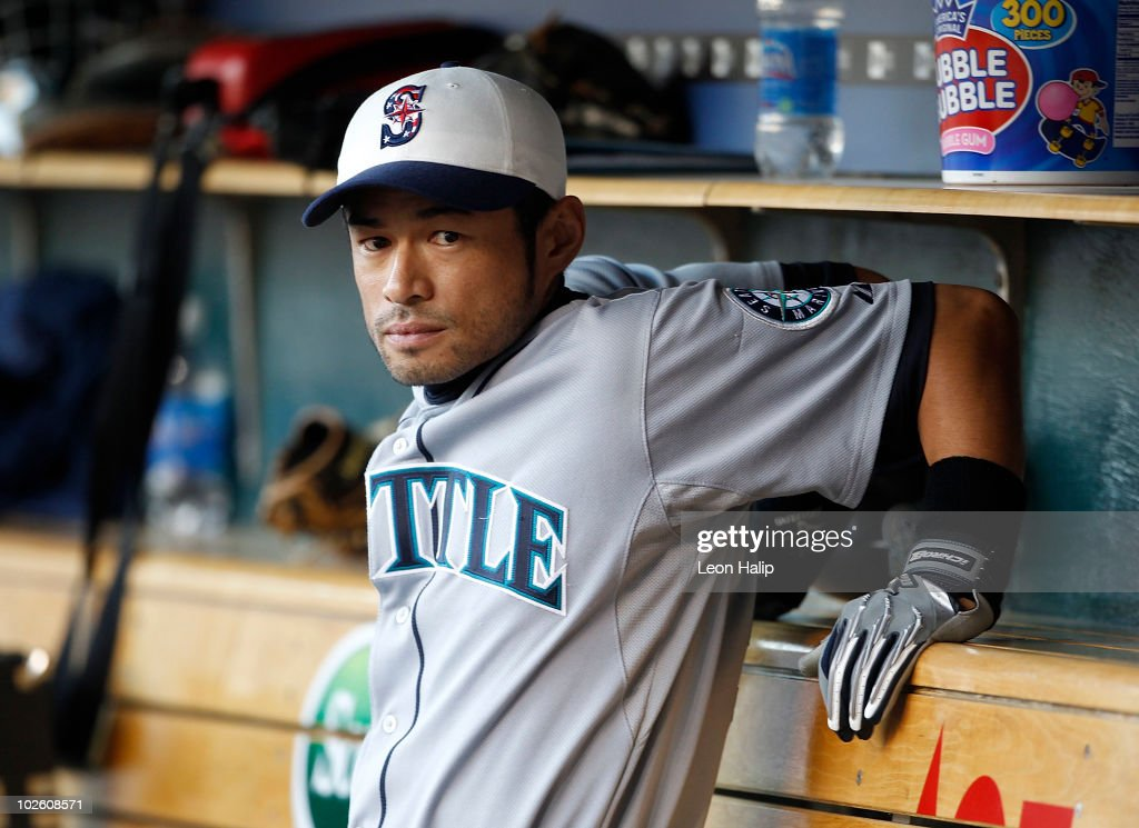 Ichiro Suzuki #51 of the Seattle Mariners watches the action from the dugout during the game against the Detroit Tigers on July 2, 2010 at Comerica Park in Detroit, Michigan. The Tigers defeated the Mariners 7-1.