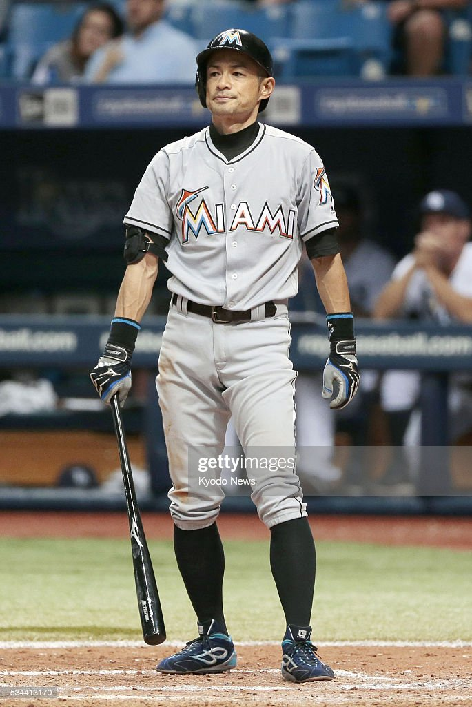 <a gi-track='captionPersonalityLinkClicked' href=/galleries/search?phrase=Ichiro+Suzuki&family=editorial&specificpeople=201556 ng-click='$event.stopPropagation()'>Ichiro Suzuki</a> reacts after being called out on strikes in the eighth inning of the Miami Marlins' 4-3 win over the Tampa Bay Rays at Tropicana Field on May 25, 2016. The veteran leadoff man went 0-for-5, going hitless for the second straight game.