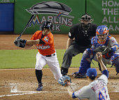 Ichiro Suzuki strikes out during the seventh inning of the Miami Marlins' 30 loss to the New York Mets at Marlins Park in Miami Florida on July 24...