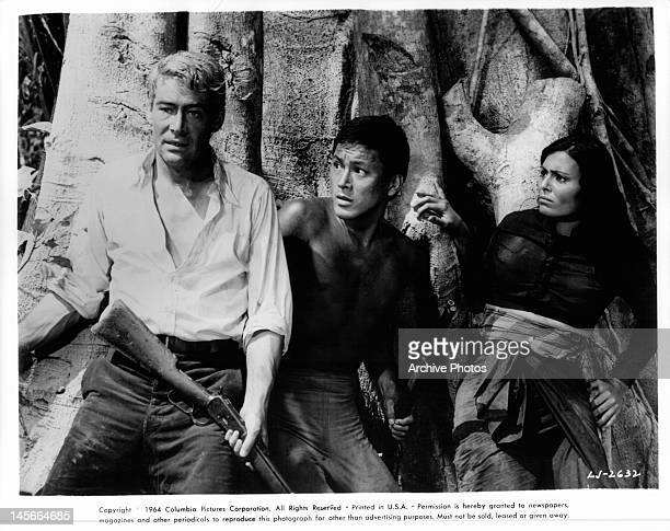 Ichizo Itami and Daliah Lavi look to Peter O'Toole for leadership in a scene from the film 'Lord Jim' 1965