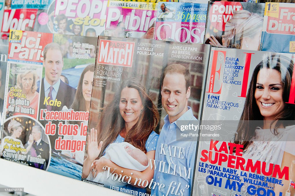 Ici Paris, Paris Match and Elle France covers Britain's Catherine, the Duchess of Cambridge on July 25, 2013 in Paris, France. The Duchess of Cambridge gave birth to a boy on July 22 at 16.24 BST with Prince William at her side.