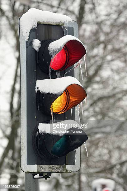 Icicles form on a traffic light on January 21 2013 in Buxton United Kingdom The Met Office has issued a red weather warning for parts of the Uk and...