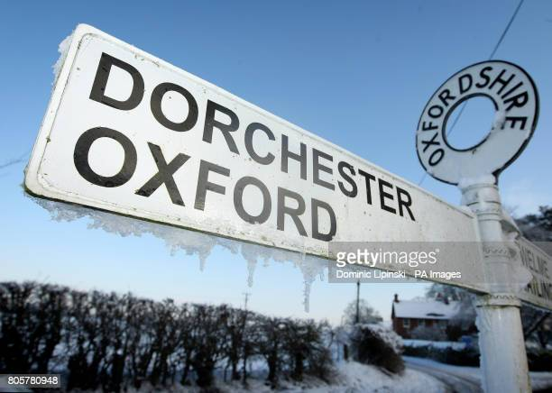 Icicles hang from a road sign in Benson Oxfordshire which recorded a low of minus 177 degrees centigrade overnight