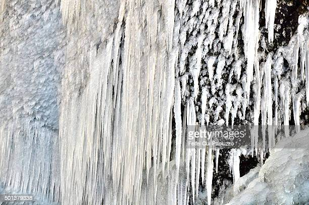 Icicles in Skogarfoss in winter south of Iceland