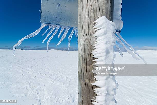 Icicles on sign